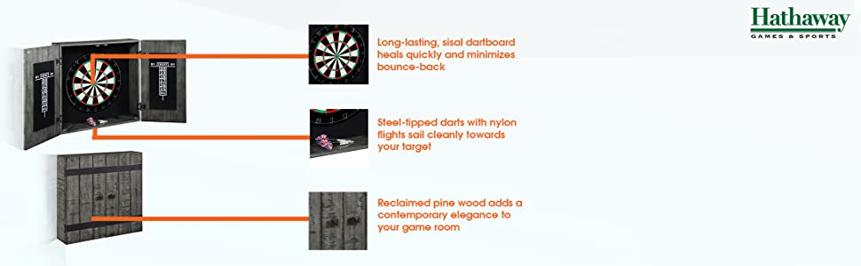 Reclaimed driftwood dart cabinet with sisal dartboard and 6 darts with nylon flights.