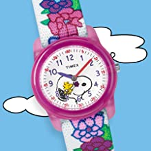 Timex TW2R41700 Time Machines Peanuts Woodstock Snoopy Flowers Watch