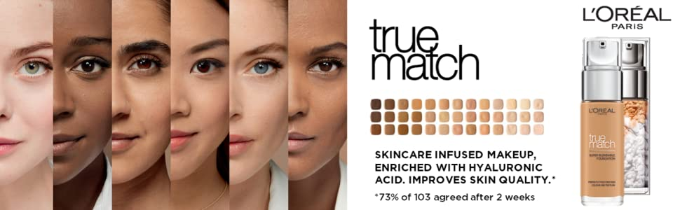 True match foundation, 24hr foundation, 40 shades. long lasting foundation, loreal true match