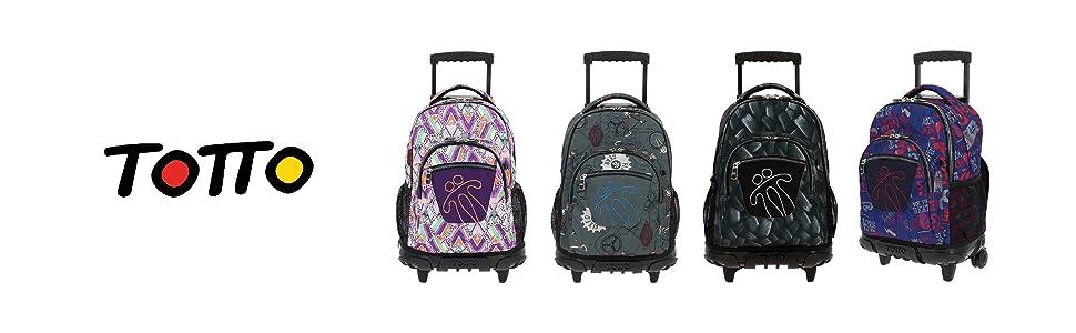 mochilas con ruedas, mochilas totto, mochilas escolares