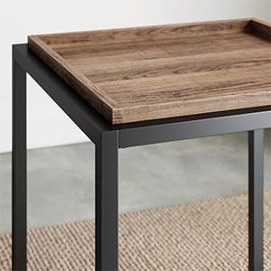 black end tables, accent table, modern side table, black nightstand, industrial side table