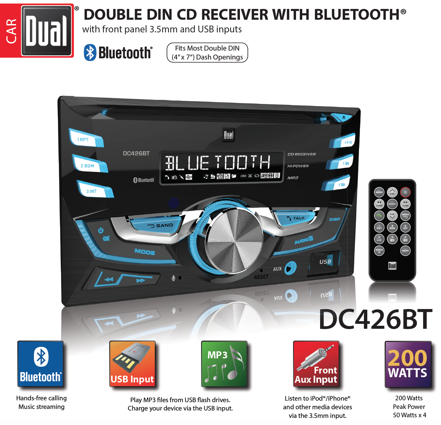 Dual electronics dc426bt multimedia 3 7 inch double din car stereo bluetooth