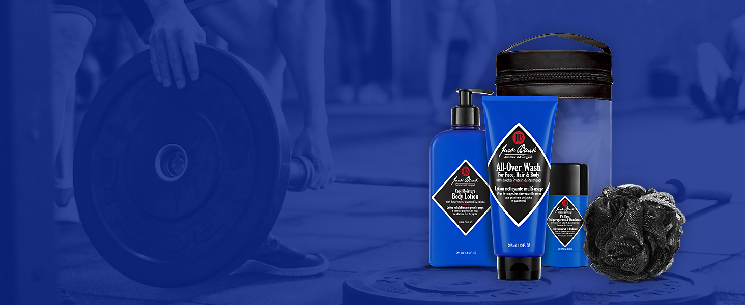Jack Black - Clean & Cool Body Basics Set - All-Over Wash for Face, Hair &  Body, Pit Boss Antiperspirant &