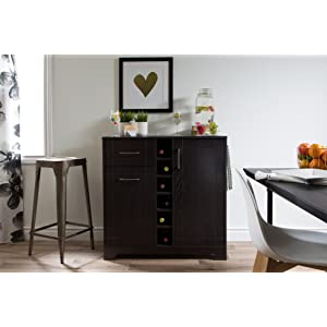 Elegant South Shore Vietti Bar Cabinet With Bottle And Glass Storage, Black Oak