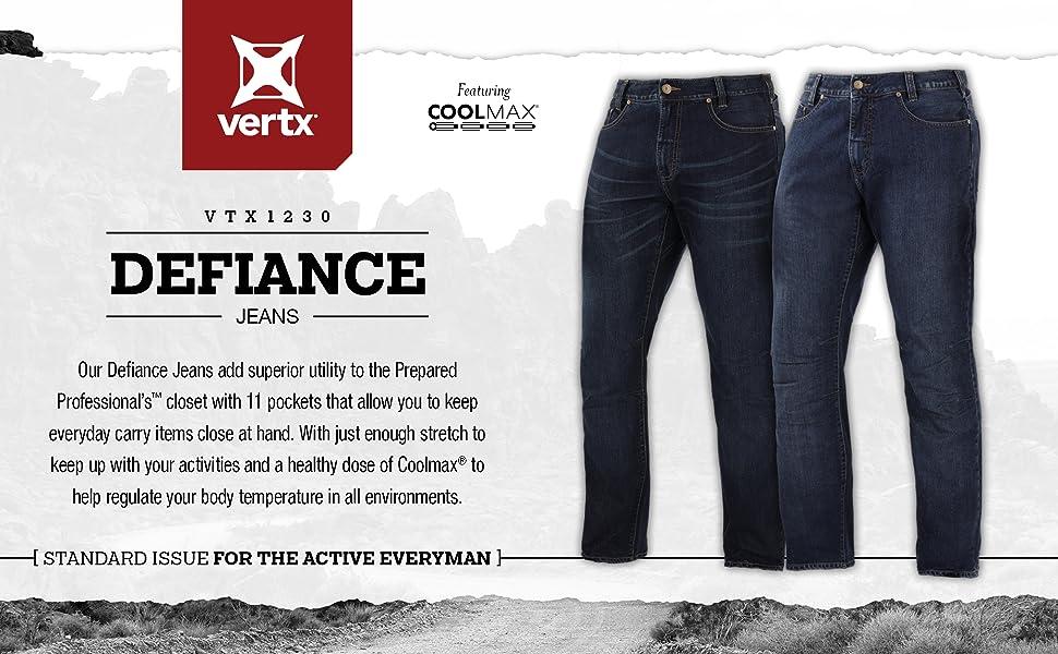 Jeans, jean, stretch, defiance, tactical, concealed carry, coolmax, comfort, denim, mens fashion
