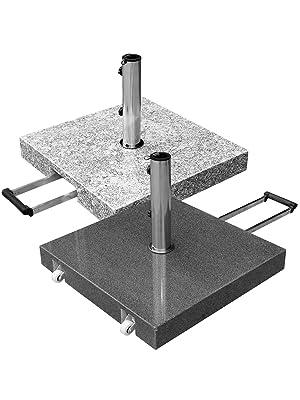 anndora Schirmständer Sonnenschirm Granit rollbar 40kg dunkelgrau poliert B-Ware