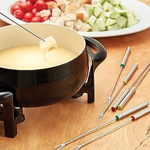 stainless steel fondue set; stainless steel fondue forks; fondue set; chocolate fondue