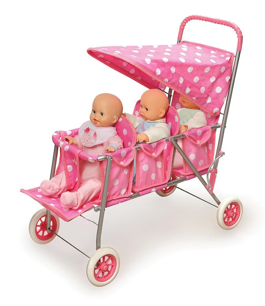 Amazon Com Badger Basket Triple Doll Stroller Pink