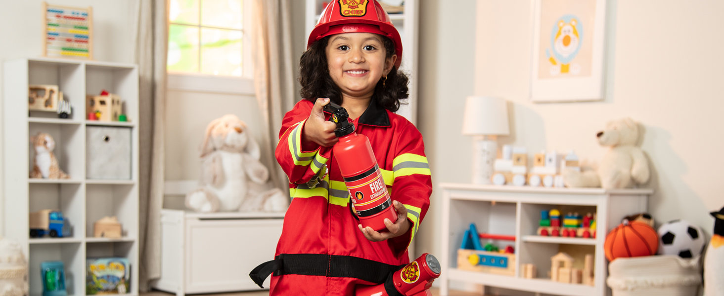 Melissa Doug Fire Chief Role Play Costume Set Pretend Play Frustration Free Packaging Bright Red 17 5 H X 24 W X 2 L Great Gift For Girls