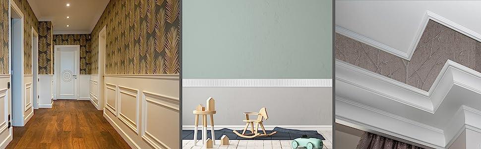 panel moulding for wallwaper, ceiling trim, wainscotting, wainscot trim