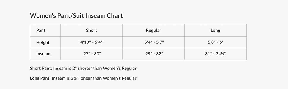 Women's Pants Size Chart