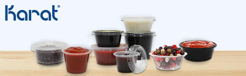Karat portion cups,PP portion cups,Paper portion cups, PET portion cup lids,durable portion cups
