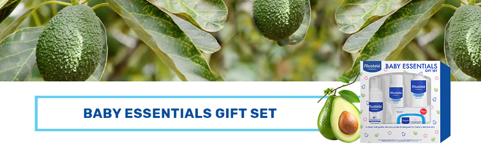 with natural Avocado Perseose Mustela Baby Essentials Gift Set