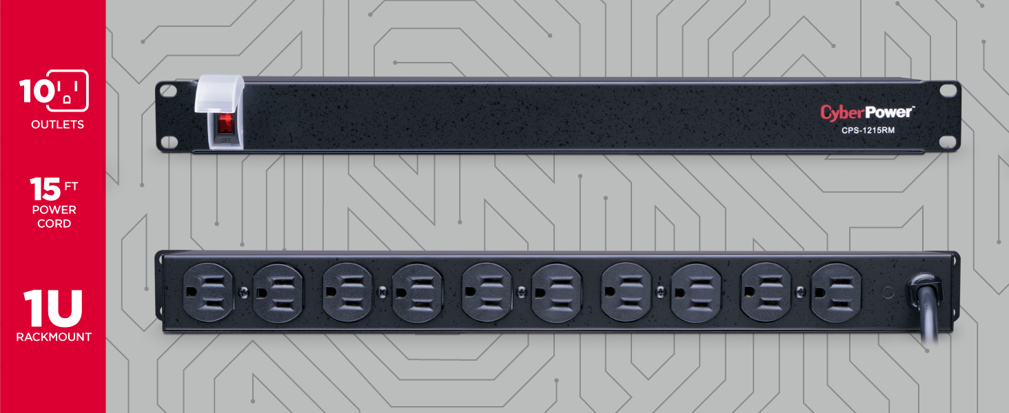 CyberPower CPS1215RM Rackmount Surge Protector - Hotspots