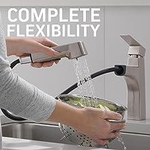 Complete flexibility, flexibility, kitchen faucet sprayer, faucet hose, hose flexibility