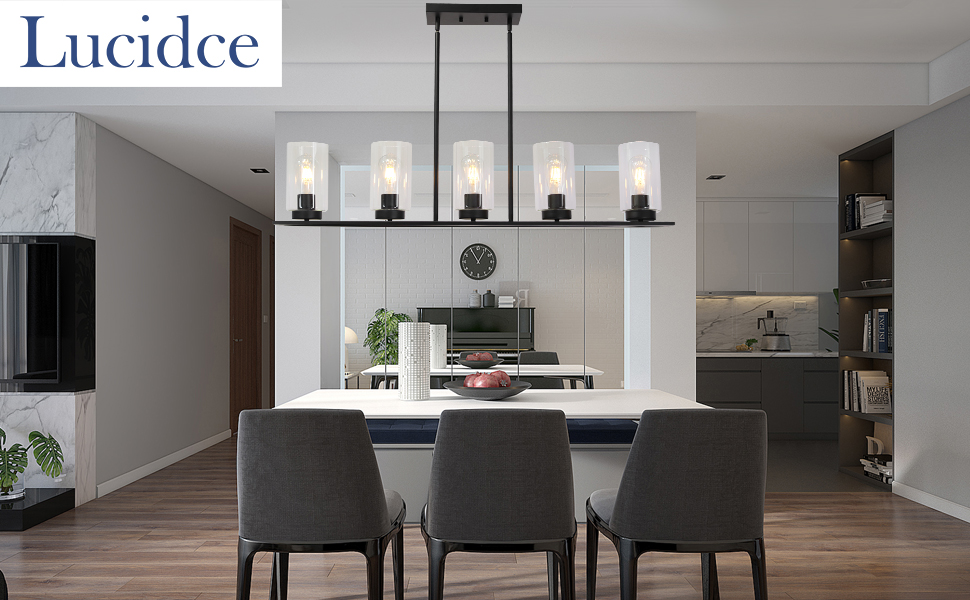 Modern Farmhouse Chandelier Pendant Lighting for Kitchen Island Black 5 Lights Clear Glass Shades Linear Dining Room Lighting Fixtures Hanging by Lucidce