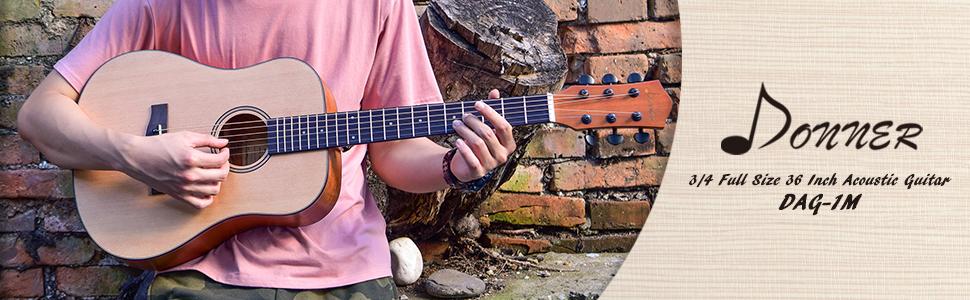 Donner Guitarra Ac/ústica Dreadnought con 36 Pulgadas Cuerpo de Caoba y P/ícea Color de Madera Natural con Set de Accesorios DAG-1M