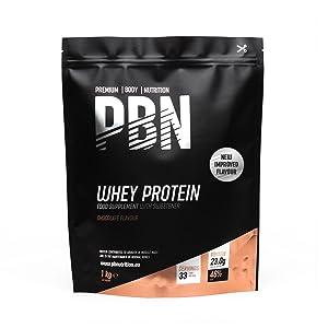PBN Premium Body Nutrition Proteína de suero de leche en polvo, 1 kg, sabor chocolate, sabor optimizado
