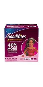 GoodNites Bedtime Pants are disposable bedwetting underwear 20% more absorbent than training pants