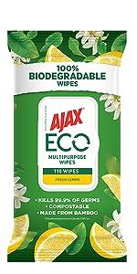 Ajax Eco Lemon 110 Wipes