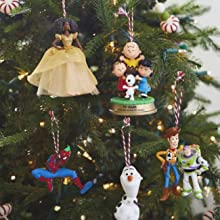 Hallmark Keepsake Christmas ornaments in Spiderman, Frozen, Peanuts, Toy Story and princesses