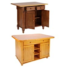 kitchen island,drop leaf,tile top,sliding,island with storage,traditional,country,oak,solid wood