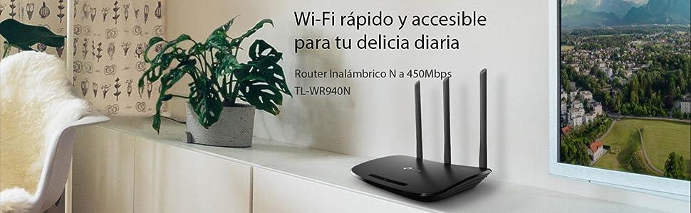 TP-Link TL-WR940N Router Inalámbrico Repetidor de WIFI Punto de Acceso N450 Mbps