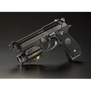 Streamlight 69265 TLR-2 HL G High Lumen Tactical Light, attached to a Beretta Hand Gun.