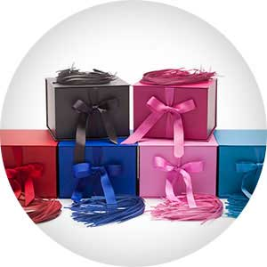 All-in-one gift boxes in pink, red, black and blue for bridesmaids gifts, sorority gifts & weddings