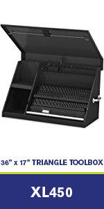30-Inch Portable TRIANGLE Toolbox SAE and Metric Tool Chest LA400B Montezuma Multi-Tier Design Lock and Latching System 16-Gauge Construction Weather-Resistant Toolbox