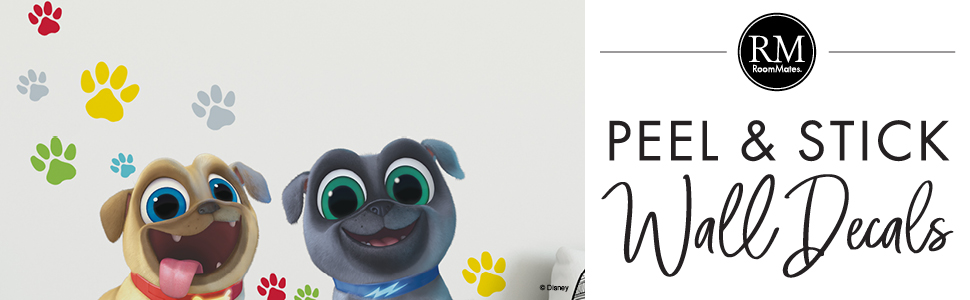 Amazon Com Roommates Puppy Dog Pals Peel And Stick Giant Wall Decals Brown Blue Yellow Green Red 36 5 X 17 25 Rmk3775gm Home Improvement