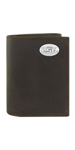Crazy horse brown leather tri-fold wallet