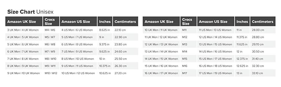 unisex, size chart