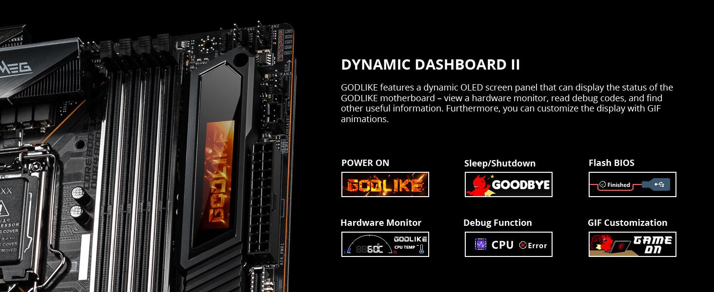 msi. meg z490 godlike, dynamic dashboard ii, oled display, post code, debug, troubleshooting, error