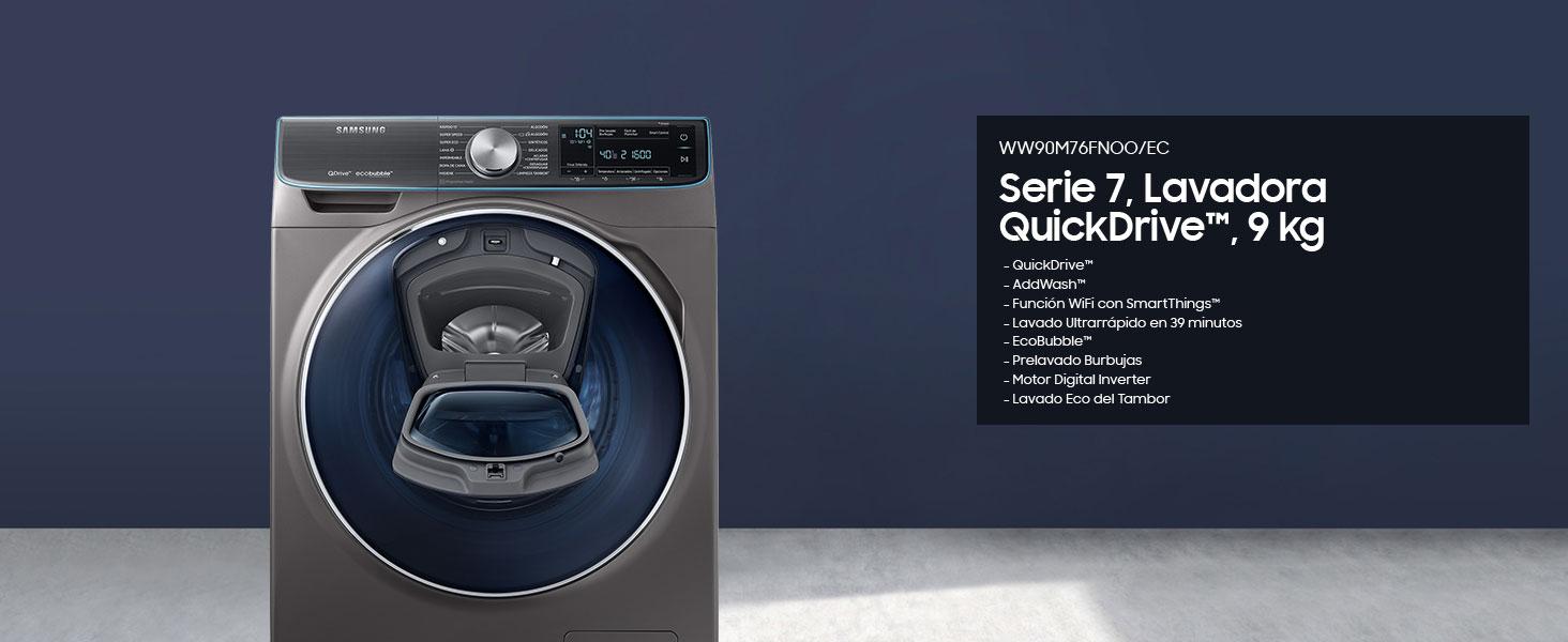 Samsung - Lavadora QuickDrive Serie 7 9kg WW90M76FNOO: 777.96 ...