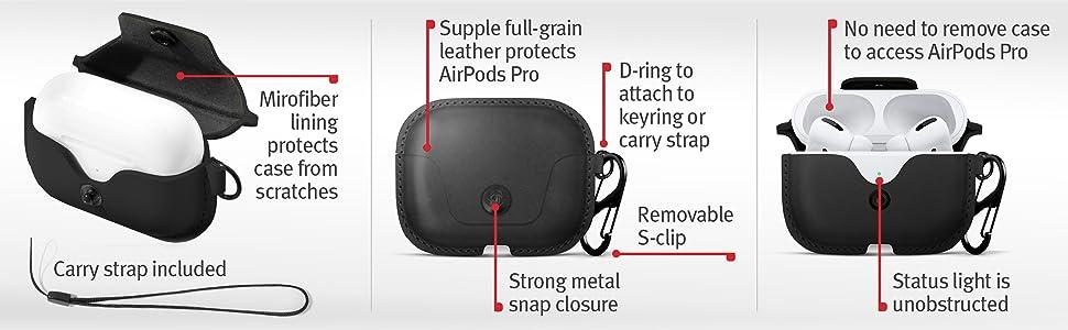 Microfiber lining, removable clip, status light