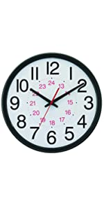Wide Profile Wall Clock with 24 Hour Dial and Daylight Saving Time Auto-Adjust Movement, 13.75""