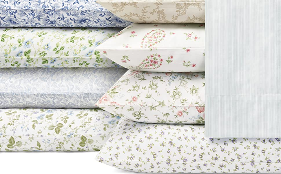 Amazon Com Laura Ashley Home Sateen Collection Bed Sheet Set 100 Cotton Silky Smooth Luminous Sheen Wrinkle Resistant Bedding Twin Lottie Home Kitchen