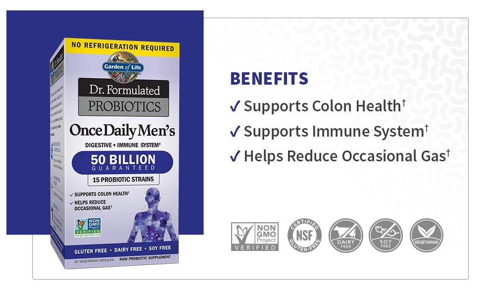 mens, probiotics, 50 billion, prebiotics, doctor formulated, non-gmo, colon, immube health, gas