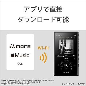 Wi-Fi経由で「mora」などのサービスアプリから直接楽曲をダウンロード購入できます。今までのようにパソコンのダウンロードサイトでダウンロード購入してから、パソコンを介して転送する必要がないので