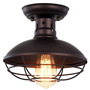 Vintage Industrial Mini Metal Cage Ceiling Light - MKLOT E26 Rustic Bronze Pendant Lighting Semi Flush Mounted 8.66