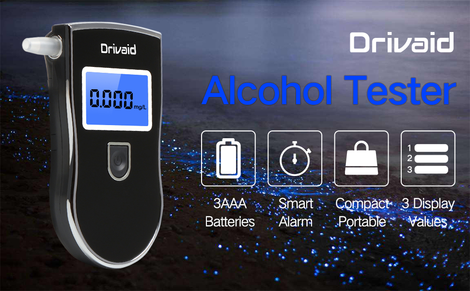 Drivaid Alcohol Tester,Lange Standby-Zeit digitales LCD-Display und 24 austauschbare Mundst/ücke wiederverwendbarem Alkoholtester mit Halbleitersensor