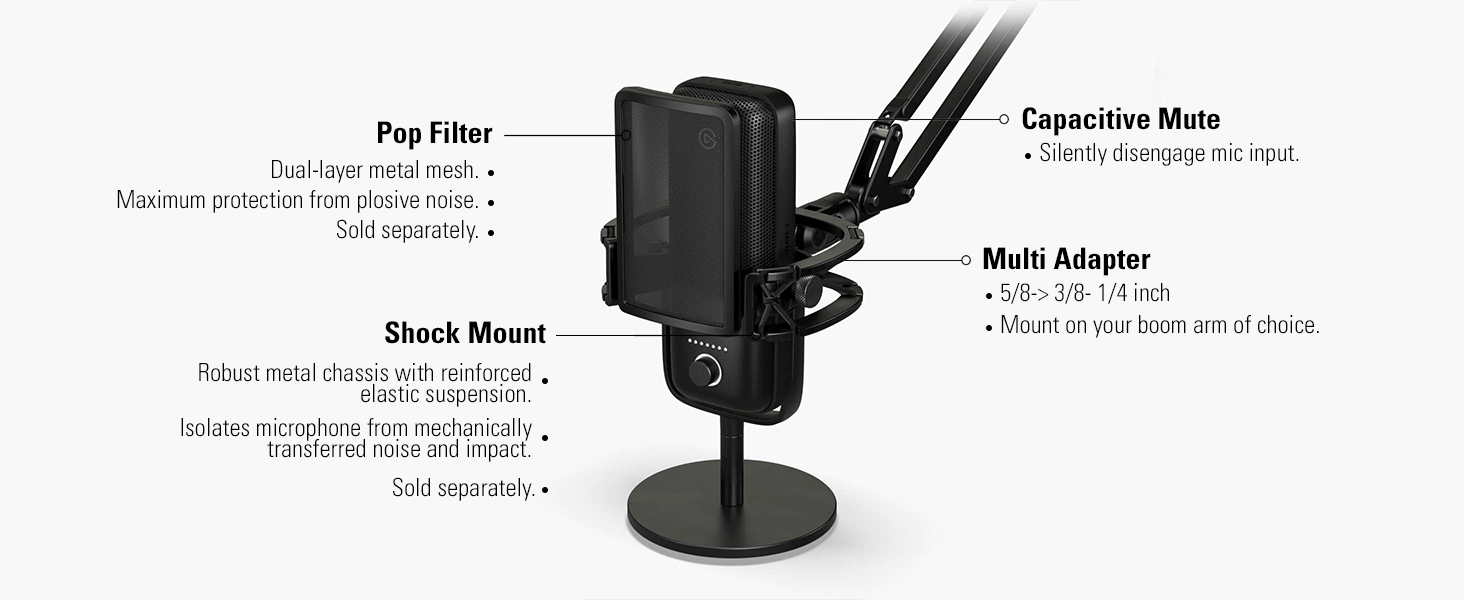 USB Condenser Microphone and Digital Mixer with Pop Filter Elgato Wave:3 Anti-plosive Noise Shield eliminates pops and hisses Dual-Layer Steel mesh