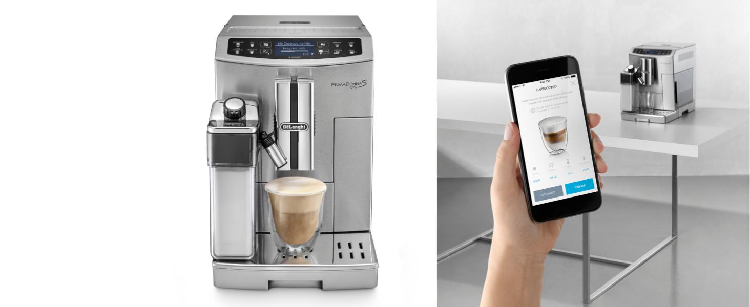 DeLonghi ECAM 510.55.M PrimaDonna S EVO Cafetera Automática, Pantalla LCD táctil, Controlable con Smartphone, Variedad Cafés, Sistema LatteCrema, ...
