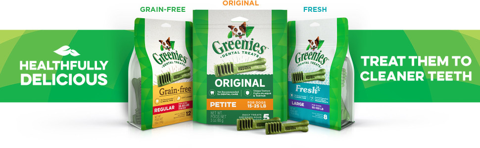 Healthfully delicious, Treat them to cleaner teeth, Greenies Original Dental Treats for Dogs