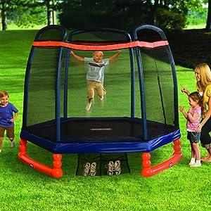 little tikes trampline with safety net;childrens trampoline;kids trampoline