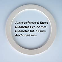 Sanfor Repuesto Cafetera Italiana 6 Tazas | Recambio Embudo + Filtro + Junta | Aluminio Caucho | Diámetro 64 mm: Amazon.es: Hogar