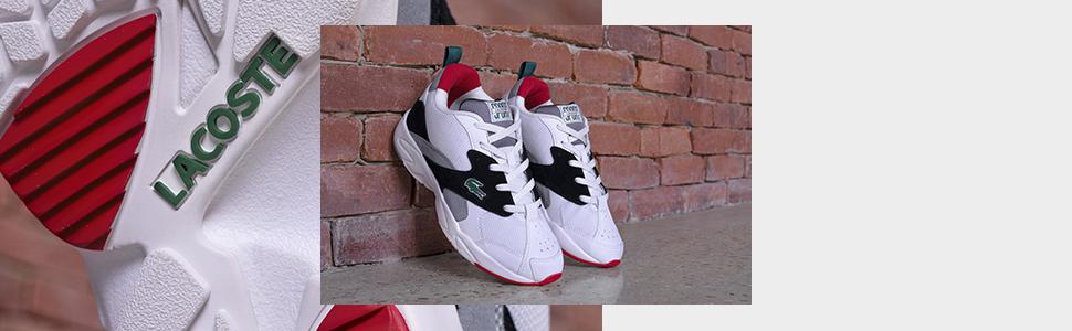 Men's branded trainers; men's branded sneakers; men's leather sneakers, Lacoste leather sneakers