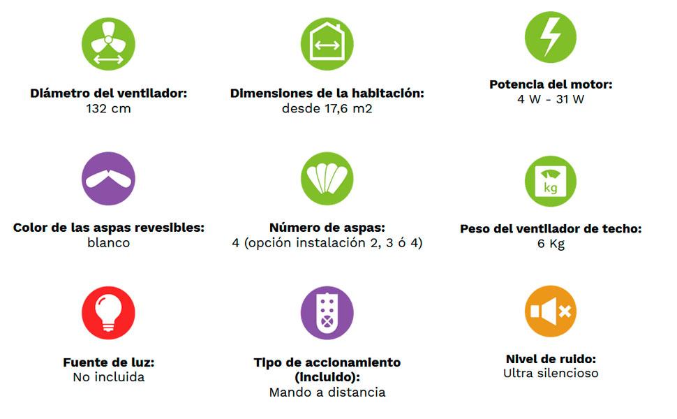 Casafan Ventilador de Techo Eco Plano II 313283 132 cm, Color ...