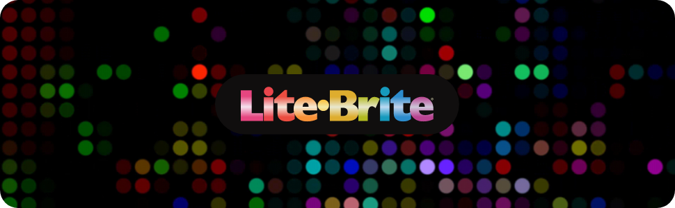 Stylized background with the Lite Brite logo.